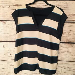 The Limited Blouse. Navy/White Stripe. Large.